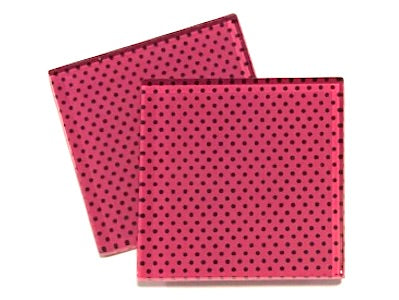 Pink Polka Dots 5cm Glass Tiles