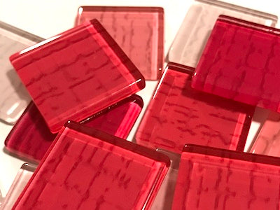 Pink Textured Glass Tiles 2.5cm