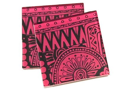 Pink Tribal 5cm Glass Tiles
