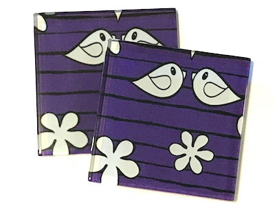 Purple Birds 5cm Glass Tiles