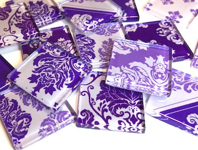 Purple Damask Patterned Glass Tiles 2.5cm