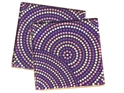 Purple Dots 5cm Glass Tiles
