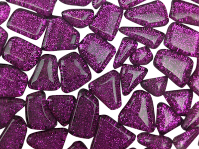 Purple Glitter Glass Tiles - Irregular