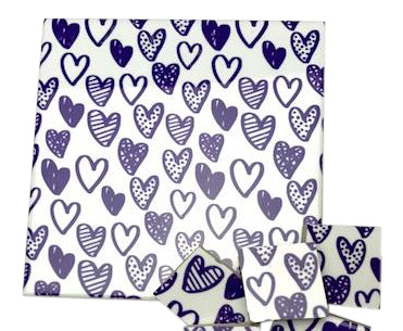 Purple Hearts Ceramic Tiles 10x10cm