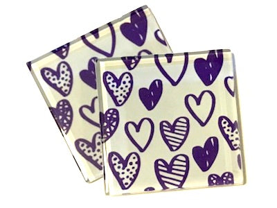 Purple Love Hearts 5cm Glass Tiles