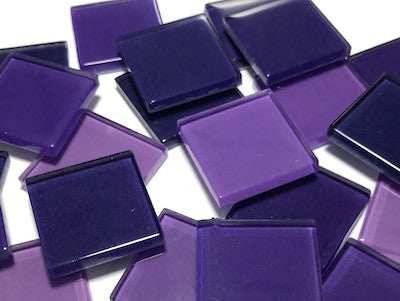 Mixed Purple Glass Mosaic Tiles 2.5cm