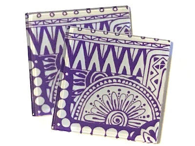 Purple Tribal 5cm Glass Tiles