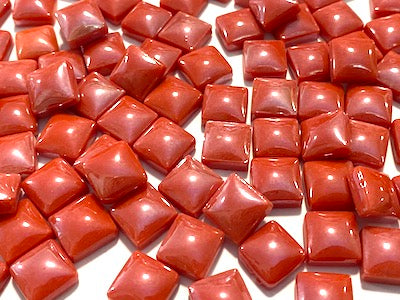 red pearlised glass tiles 1cm