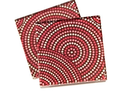 Red Dots 5cm Glass Tiles
