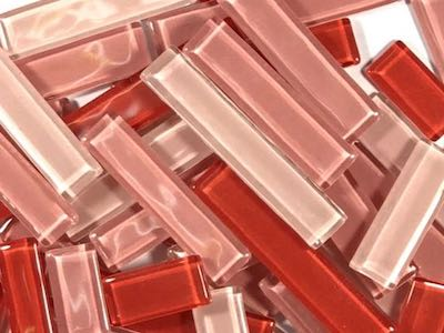 Red Mixed Glass Rectangles