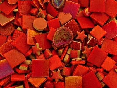 Red Tile and tesserae Colour Packs. A variety of red coloured mosaic materials.