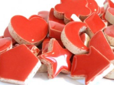 red ceramic charms