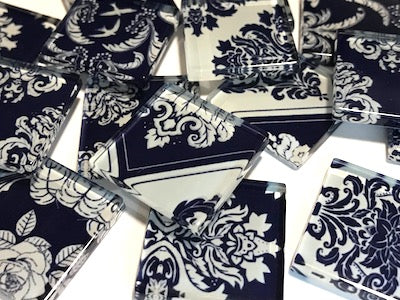 Royal Blue Damask Patterned Glass Tiles 2.5cm