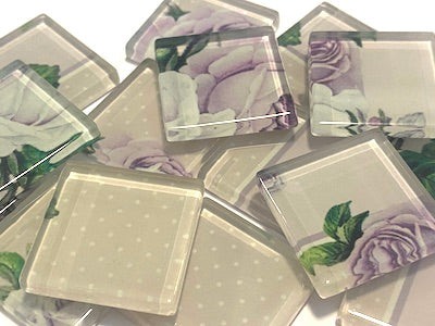 SHABBY CHIC GLASS TILES 2.5CM - NO. 13 (HM)