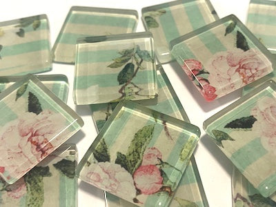 SHABBY CHIC GLASS TILES 2.5CM - NO. 18 (HM)