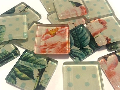 SHABBY CHIC GLASS TILES 2.5CM - NO. 28 (HM)