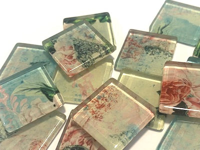 SHABBY CHIC GLASS TILES 2.5CM - NO. 8 (HM)