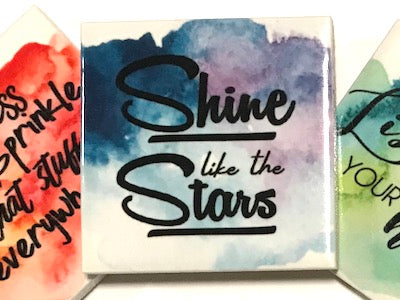 'Shine Like The Stars' Ceramic Quote Tile (HM)