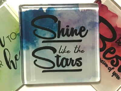 Shine Like The Stars - Glass Quote Tile (HM)