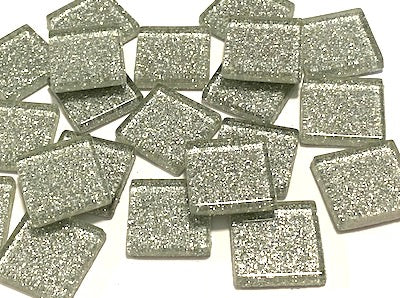 Silver Glitter Glass Tiles - 2cm