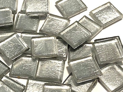 Silver Metallic Glass Tiles 1.5cm