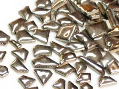 Silver ceramic puzzle pieces irregular