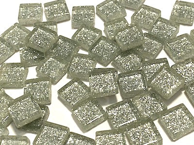 silver glitter 1cm glass tiles