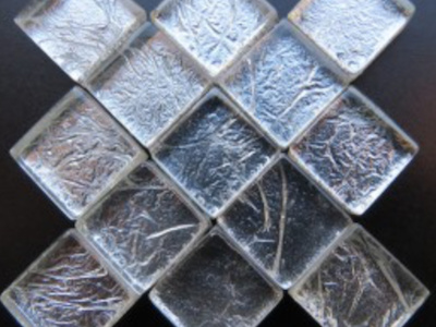 Silver Silverfoil Glass Tiles 1 cm