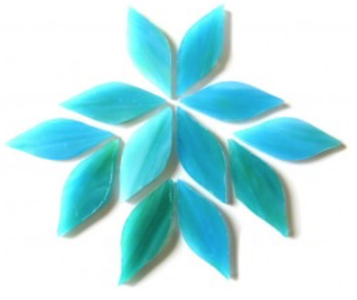 Small Blue Green Stained Glass Petals
