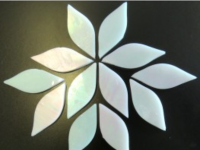 Small Iridised White Stained Glass Petals