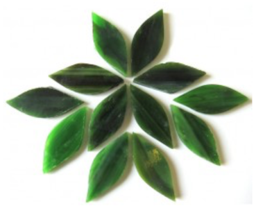 Small Olive Green Stained Glass Petals