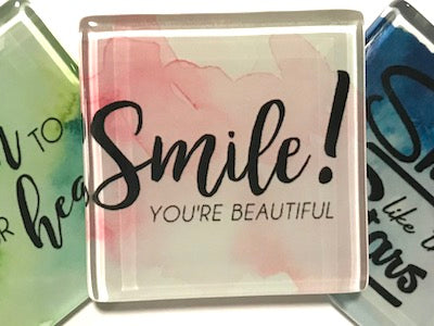 Smile You're Beautiful - Glass Quote Tile (HM)