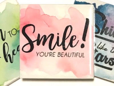 'Smile You're Beautiful' Ceramic Quote Tile (HM)