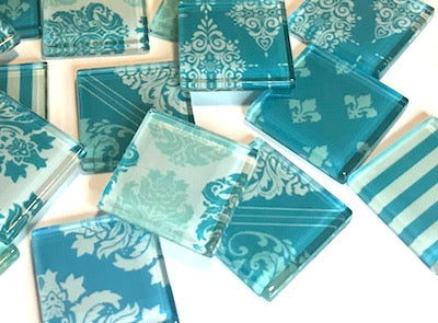 Soft Blue Damask Patterned Glass Tiles 2.5cm