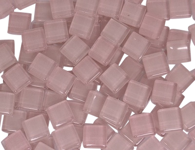 Soft Pink Crystal Glass Mosaic Tiles 1cm