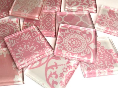 Soft Pink Damask Patterned Glass Tiles 2.5cm