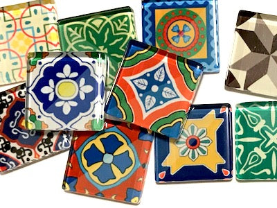 Spanish Inspired Glass Tiles 2.5cm - Mix 1