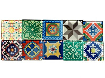 Spanish Inspired Glass Tiles 2.5cm - Mix 4