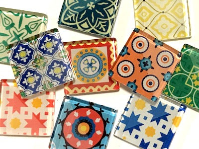 Spanish Inspired Glass Tiles 2.5cm - Mix 2