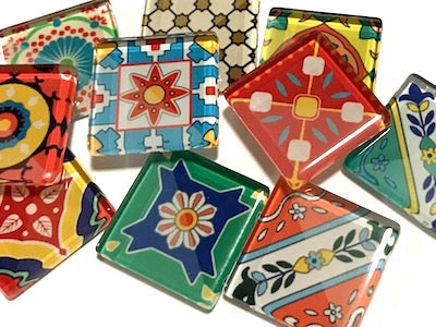 Spanish Inspired Glass Tiles 2.5cm - Mix 3