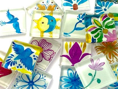 Talavera Mexican Glass Tiles 2.5 - Pattern 1