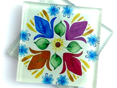 Talavera Mexican Glass Tiles 5cm - Pattern 18 (HM)