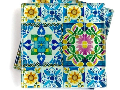 Talavera Mexican Glass Tiles 5cm - Pattern 22 (HM)