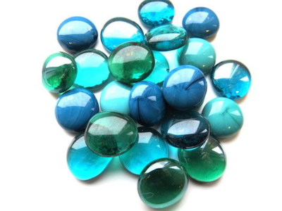 Mixed Teal Glass Gems