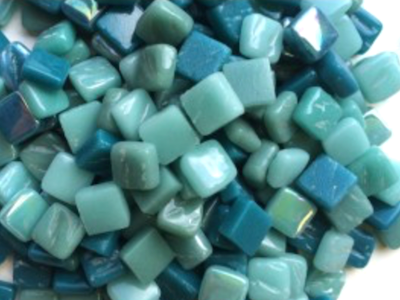 Mixed Teal 8mm Glass Tiles
