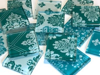 Teal Damask Patterned Glass Tiles 2.5cm
