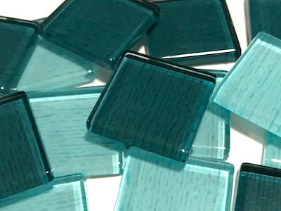 Teal Fine Textured Glass Tiles 2.5cm