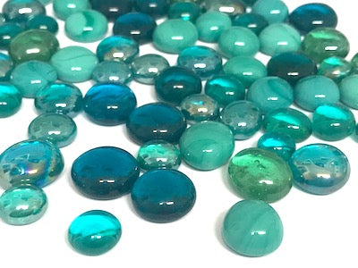 Mini Mixed Teal Glass Gems