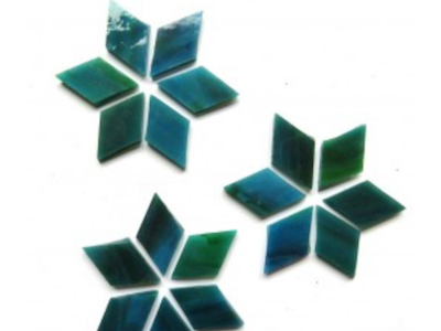 Dark Teal Stained Glass Diamonds