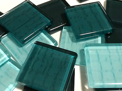 Teal Textured Glass Tiles 2.5cm